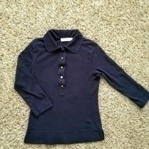 Tory Burch button up collared 3/4 sleeve shirt